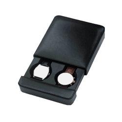 Double de Luxe en cuir noir pu regarder le cas de voyage de poche