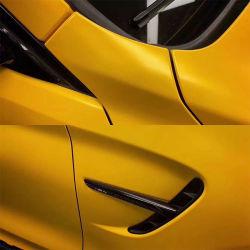 لون السيارة الأصفر اللامع تغيير فقاعة لصق ذاتي خالية من لف غشاء الفينيل