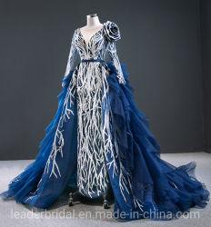 長い袖の形式的なガウンの余分トレインT214209が付いている青いレースのスパンコールのプロムのイブニング・ドレス