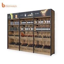 رفوف عرض النبيذ بالجندول ذو الجانب المزدوج والرسم على الخشب والمعدن
