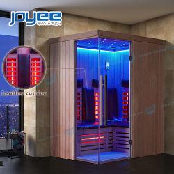 Nouveau design en verre de coin salle de bains en bois Traditionnel Sauna Infrarouge avec coussin en cuir
