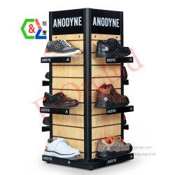 Kundenspezifische Fußboden-Standplatz-Metall-und Holz-Schuh-Zahnstangen-freie Stellung-Bildschirmanzeige
