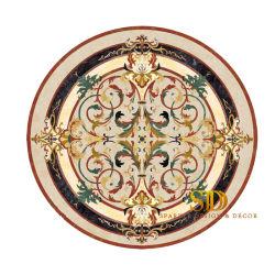Diseño clásico de la ronda de la tabla de mármol con incrustaciones de aluminio de respaldo para el Salón/Comedor