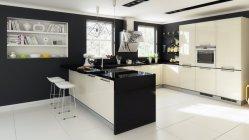 De hoge Glanzende Keukenkast van het Eiland van het Comité van de Deur van pvc Vlakke