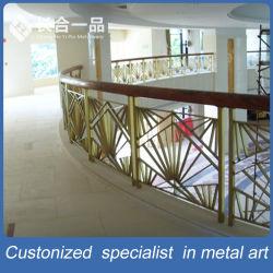 Golden personnalisés à l'intérieur escaliers en acier inoxydable pour l'hôtel-club de la main courante