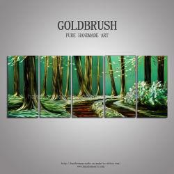 Multi MetallÖlgemälde-dekorative handgemachte Wand-Kunst des Panel-Wald3d