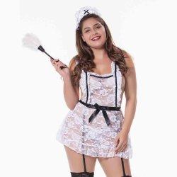 De plus sexy femme de ménage humide uniforme de français de jeu de rôle adulte de grande taille Lingerie Sexy
