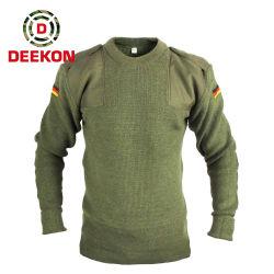 Pullover rotondo militare dell'esercito del rullo delle lane di colore verde 100%