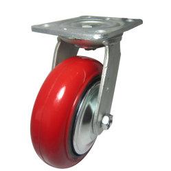 6inch 산업 PU 무쇠 바퀴 피마자