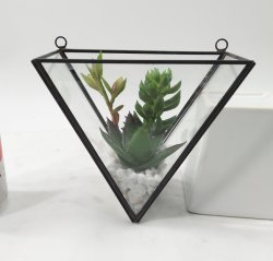 Follaje artificial Everygreen bastidor metálico terrario macetas con plantas suculentas