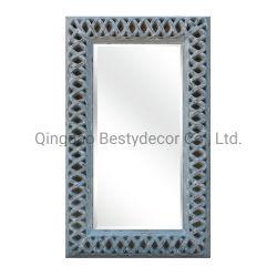 Commerce de gros de grande taille vinaigrette décoratif miroir avec châssis de PU