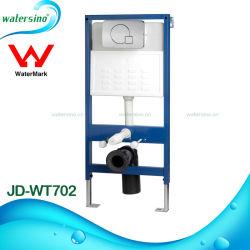 En la pared moderna silencioso inodoro cisterna con certificado de marca de agua.