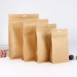La chiusura lampo su ordinazione si leva in piedi in su la guarnizione laterale del sacchetto 8 della carta kraft Del sacchetto per l'imballaggio per alimenti