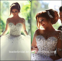 De novia vestidos de bola de cristal de mangas largas cordón árabe Vestido de Novia Z2016