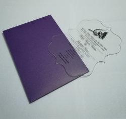 Kaarten van de Uitnodigingen van het Huwelijk van de luxe de Plastic Acryl met de Envelop van het Document