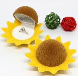 Caixa de presente do anel de casamento estilo girassol