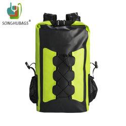 肩ひもが付いているカスタム屋外の緑の防水乾燥したバックパック袋