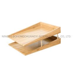 Het houten Dienblad van het Document van het Dossier van het Document van de Organisatoren van de Desktop van het Bamboe
