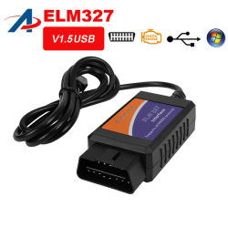 Elm327 USB V1.5 OBD2自動診断インターフェイススキャンナーのニレ327 V 1.5 Obdiiの診察道具のニレ32 OBD2の自動車のスキャンナー