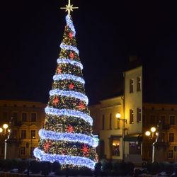 Decorazione commerciale Plaza illuminato Big Tree Natale con ornamenti personalizzati