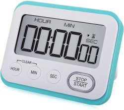 Couleur bleu ciel Digital Minuteur, minuteur magnétique, grand écran LCD Silencieux/bip sonore, horloge multifonctions avec alarme Réglage rapide pour la cuisson la cuisson
