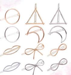 Les femmes de gros DIY Hair Clip en métal le plus récent Boucle Double Triangle lune Bowknot Pearl Cat géométrique des pinces à cheveux