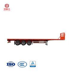 Essieux de 11-13m Self-Dumping 2/3 50tonne 60tonne 20ft 40FT Conteneur de plate-forme de châssis/lit plat remorque/camion à plateau/semi-remorque à plat