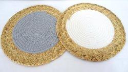 Portaposate tondo in cotone per cucina, tamponi caldi di isolamento con filo a paglia naturale, tappetino intrecciato
