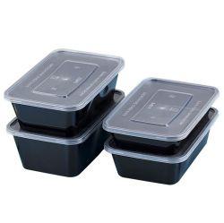 Venta caliente la comida de plástico negro Prep contenedores biodegradables de plástico desechable Térmica de microondas para llevar alimentos PP Container