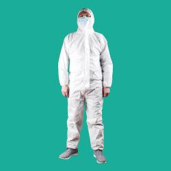 La certificación CE e informe de prueba de laboratorio de protección de capucha adulto bata quirúrgica Médico Cirujano de vestuario uniforme Capa de aislamiento desechables