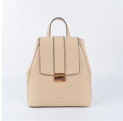 Form-Beutel-Hersteller-beige Farbe PU-Dame-Rucksack-Beutel mit Streifen-Schließfach