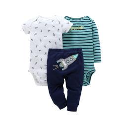 El nuevo bebé Hatsuit algodón pantalón ajustado traje de tres piezas para niños