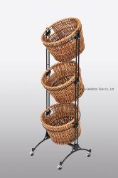 Cocina Cocina artesanal con ruedas de carro en el almacenamiento de verduras 3 cestas de mimbre Rattan