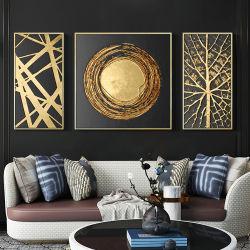 La salle de séjour Gold Leaf Triptych Peinture décorative style simple et moderne salle de modèle Fashion Abstract immense murale d'entrée