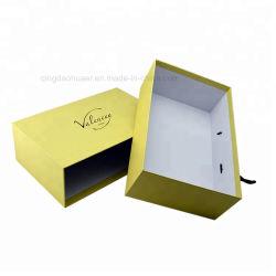 Amarelo gaveta de papel cartão caixa de sapato com pega de transporte, puxe o papelão Caixa de Oferta para calçado