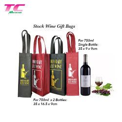 昇進の習慣の非編まれたワイン・ボトルのパッキングギフトは沢山の在庫によって印刷される再使用可能なワインのトートバックを袋に入れる