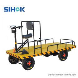 Trasportatore a base piatta elettrico del carrello della mano delle rotelle di vendite dirette quattro della fabbrica in avanti e carrello a rovescio 800kg della piattaforma di guida