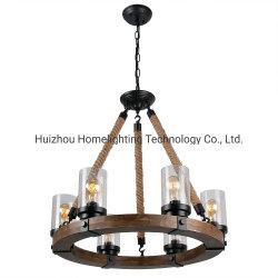 Lampadario a bracci rotondo decorativo Lamow Pendant del blocco per grafici di legno Jlc-3014 con tonalità di vetro