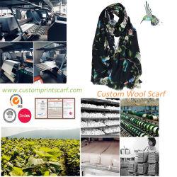 실크 모직에 의하여 혼합되는 숄 자연적인 모직 스카프를 인쇄하는 주문 로고 디지털