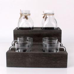 900 ml de yogur vacía la botella de cristal para beber la leche la botella de cristal y vidrio conjunto de la copa