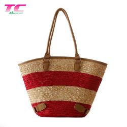 Banheira de vender as mulheres de luxo Verão Praia de Palha Tote sacos simples Saco de palha com PU pega em pele