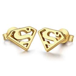 La película de moda Joyería temática Joyería de hombre de acero inoxidable 316L Gold Stud Earrings
