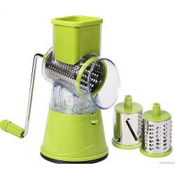3-en-1 de la manivelle en acier inoxydable de grillage à tambour rotatif multifonction Shredder outil Slicer Ustensiles de cuisine