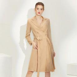 샹얀 여성용 양면 캐시미어 후드 미디엄 앤 롱 클래식 트위드 먼지 코트