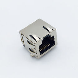 RJ45 잭 1 X N/2 X N 변압기 커넥터 통합 LED 마그네틱 모듈 8p8c가 완전히 차폐되었습니다