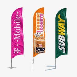 맞춤형 프로모션 광고 플래그 teardrop Feather Beach Flag Banners Pole 기본 포함