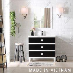 Singola vanità della stanza da bagno del caffè espresso con il dispersore e lo specchio fatti nel Vietnam