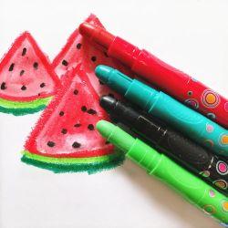 24 Farben nicht toxisch Kinder 3 in 1 Wasser Farbe Lebendige Bunte Kunst Crayon Pastell