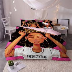 3D Printed Personality African Black Girl Duvet Cover 3 sets Beddenset