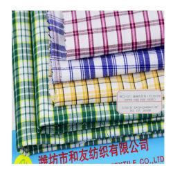 الصين تصنيع إمدادات القطن سعر القطن اليرن القطن البوليستر المصبوغ قماش قمصان مفحوز